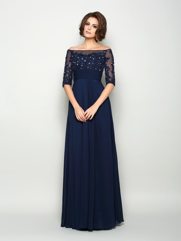 A-Line/Princess Off-the-Shoulder Beading 1/2 Sleeves Long Chiffon Mother of the Bride Dresses