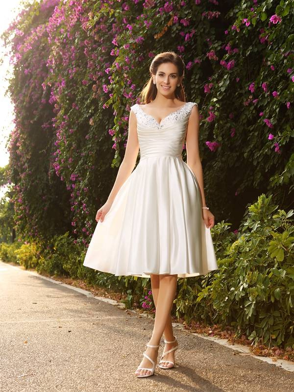 A-Line/Princess Sleeveless V-neck Satin Knee-Length Wedding Dresses