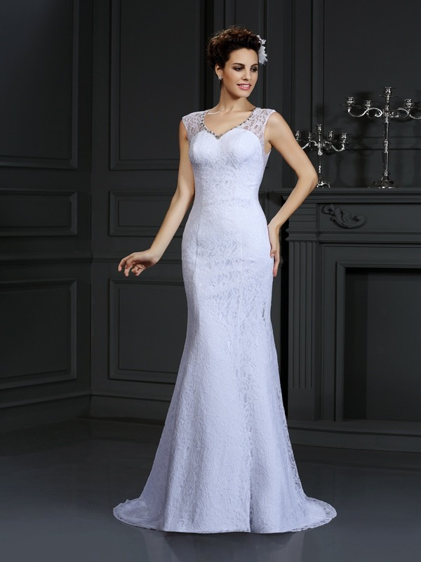 Sheath/Column V-neck Lace Sleeveless Long Satin Wedding Dresses