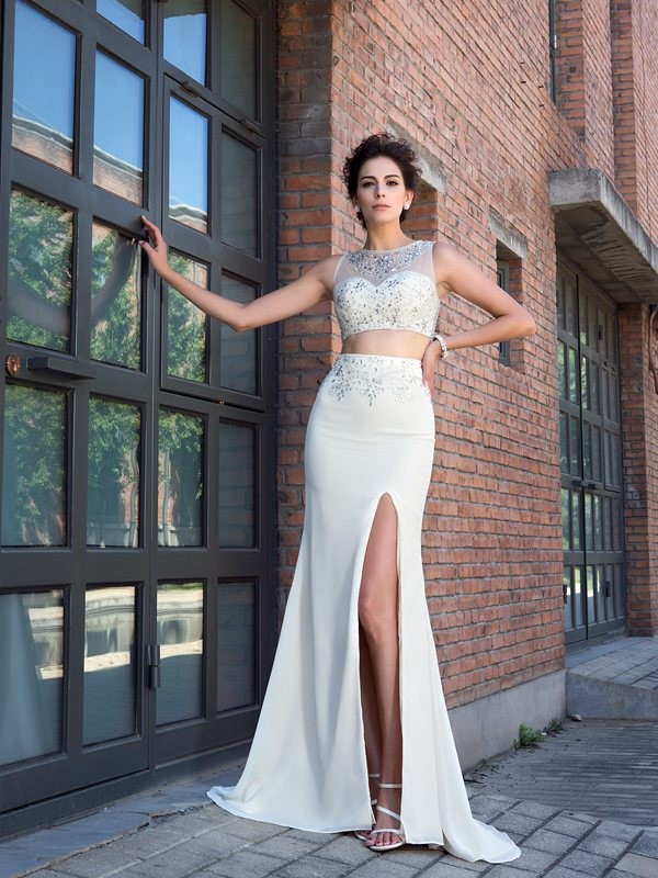 Sheath/Column High Neck Crystal Sleeveless Long Chiffon Two Piece Dresses