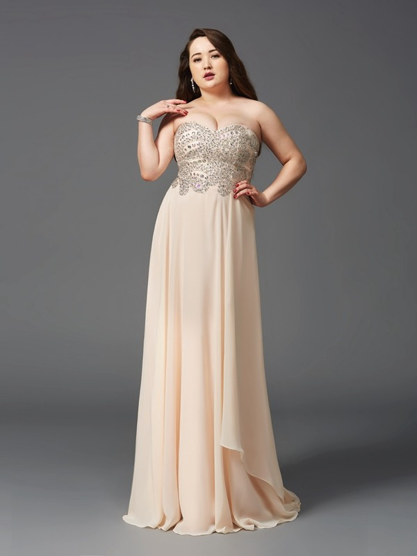 A-Line/Princess Sweetheart Rhinestone Sleeveless Long Chiffon Plus Size Dresses