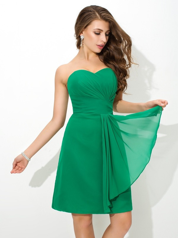 Sheath/Column Sweetheart Pleats Sleeveless Short Chiffon Bridesmaid Dresses
