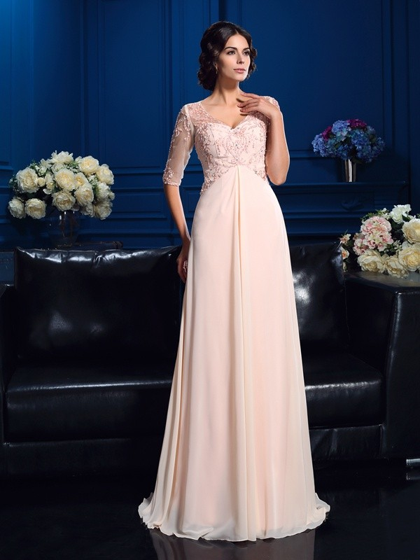 A-Line/Princess V-neck Beading 1/2 Sleeves Long Chiffon Mother of the Bride Dresses
