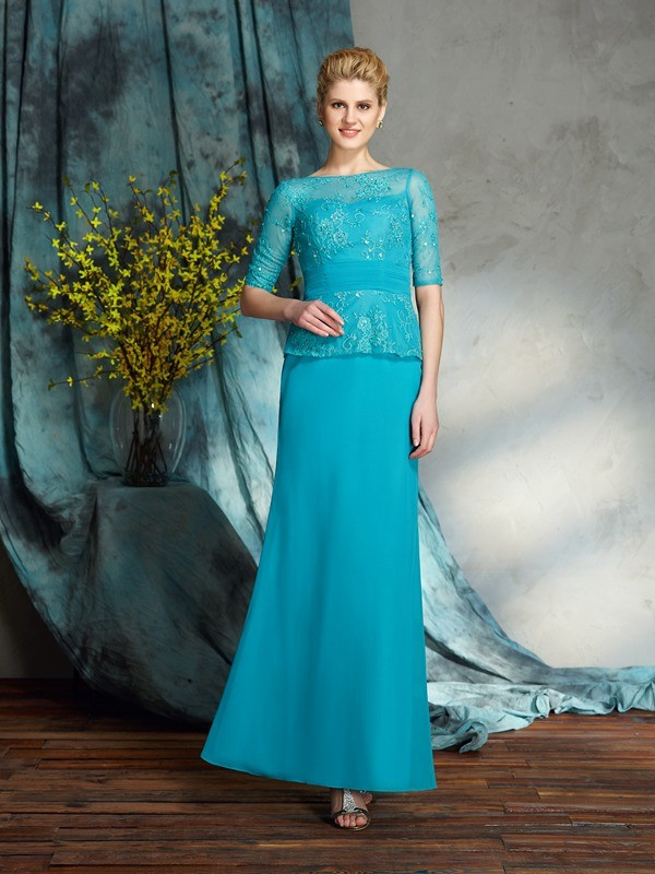 Sheath/Column Bateau Applique 1/2 Sleeves Long Chiffon Mother of the Bride Dresses