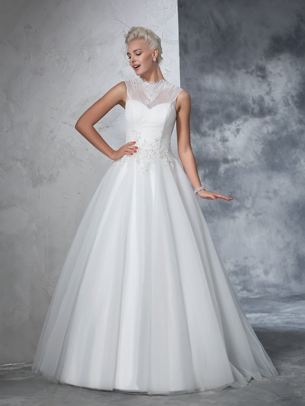 Ball Gown High Neck Applique Sleeveless Long Net Wedding Dresses