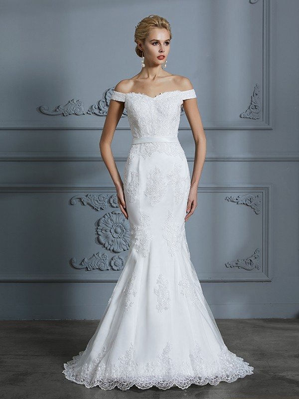 Trumpet/Mermaid Off-the-Shoulder Sleeveless Lace Sweep/Brush Train Tulle Wedding Dresses