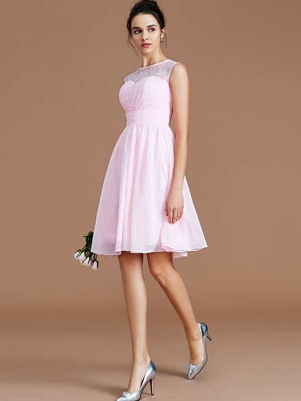 A-Line Sweetheart Sleeveless Lace Short/Mini Chiffon Bridesmaid Dresses