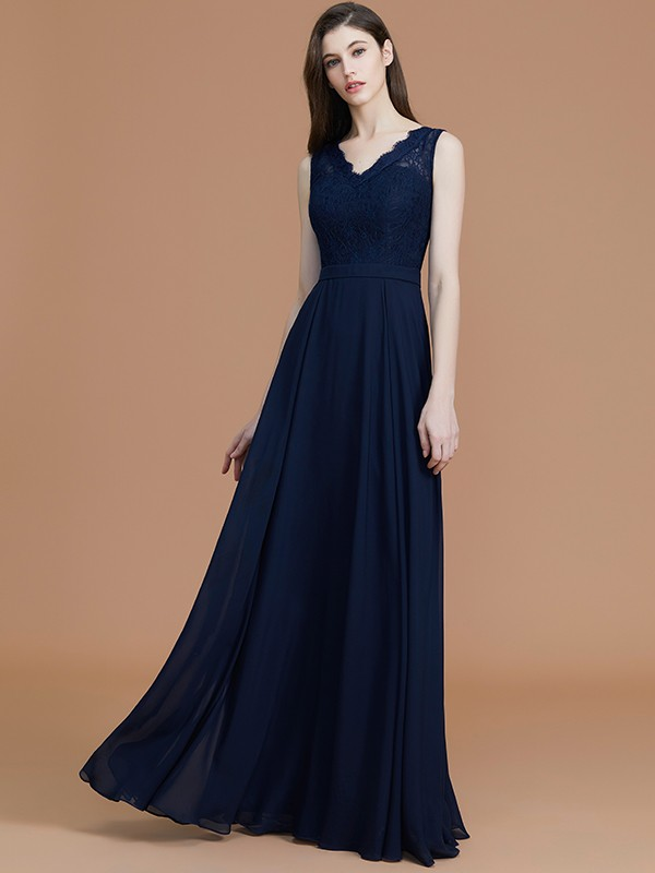 A-Line V-neck Sleeveless Floor-Length Lace Chiffon Bridesmaid Dress
