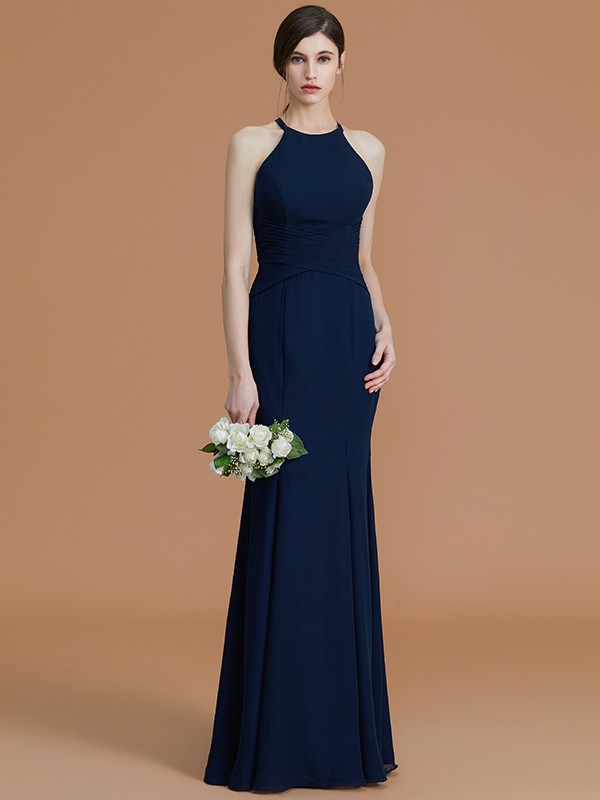 Mermaid Halter Sleeveless Floor-Length Chiffon Bridesmaid Dress