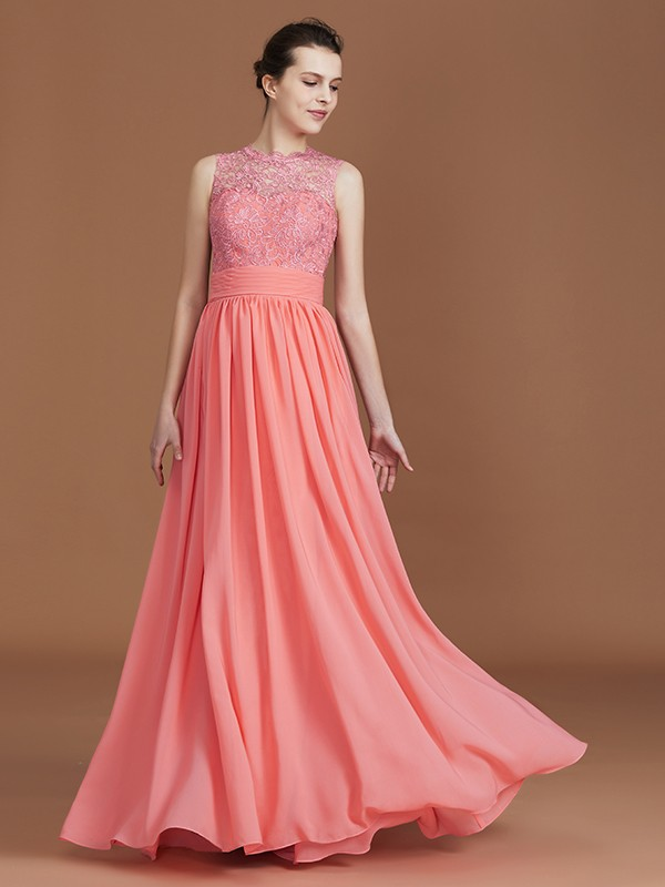 A-Line Jewel Sleeveless Lace Floor-Length Chiffon Bridesmaid Dress