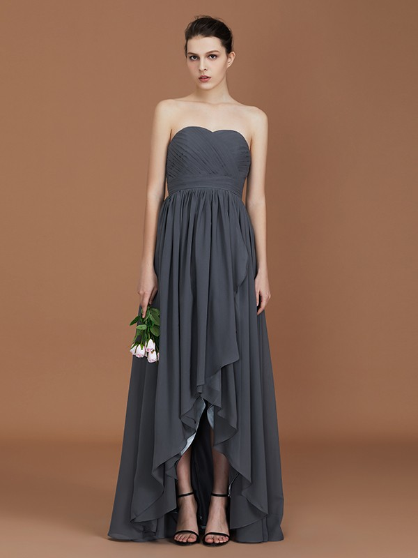 A-Line Asymmetrical Sleeveless Sweetheart Floor-Length Chiffon Bridesmaid Dress