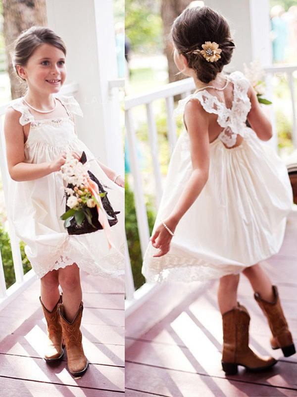A-Line Sleeveless Square Knee-Length Lace Chiffon Flower Girl Dresses