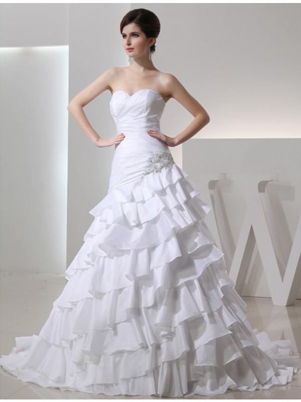 A-Line/Princess Beading Sweetheart Sleeveless Long Taffeta Wedding Dresses
