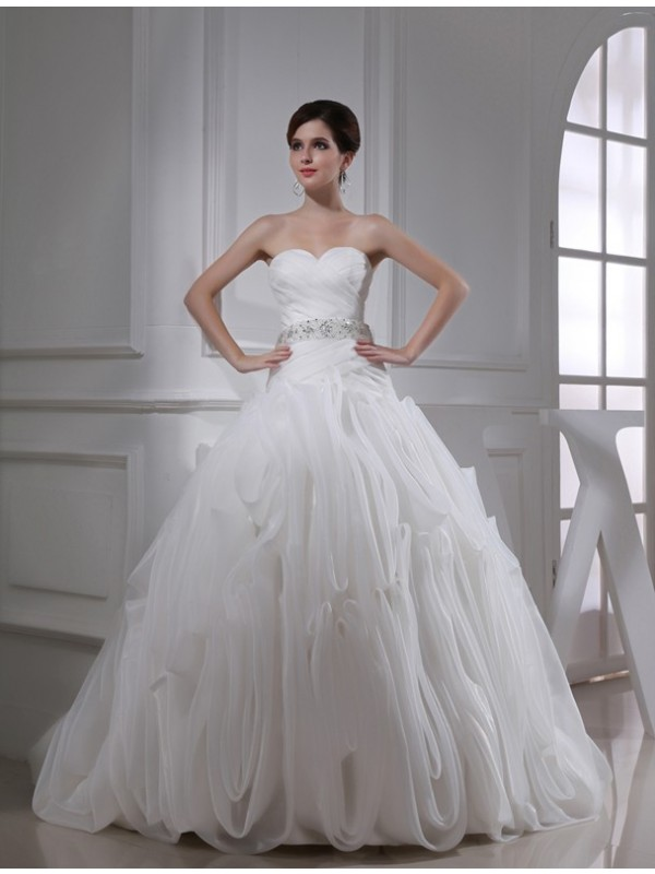 Ball Gown Beading Sweetheart Sleeveless Organza Wedding Dresses