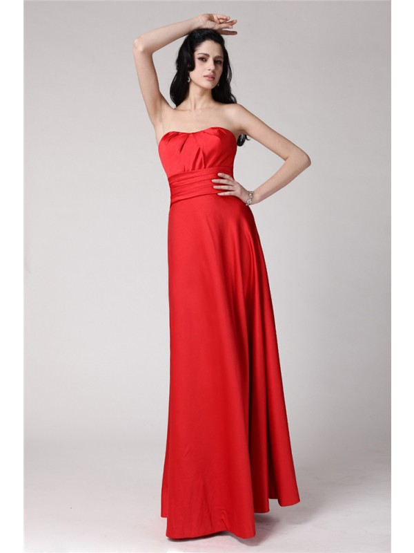 A-Line/Princess Strapless Sleeveless Pleats Long Elastic Woven Satin Bridesmaid Dresses