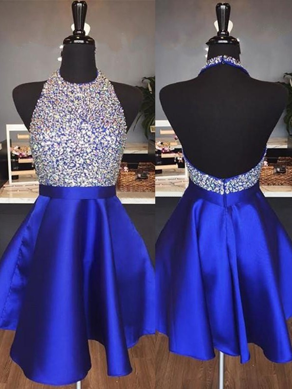 A-Line/Princess Short/Mini Sleeveless Satin Halter Beading Dresses