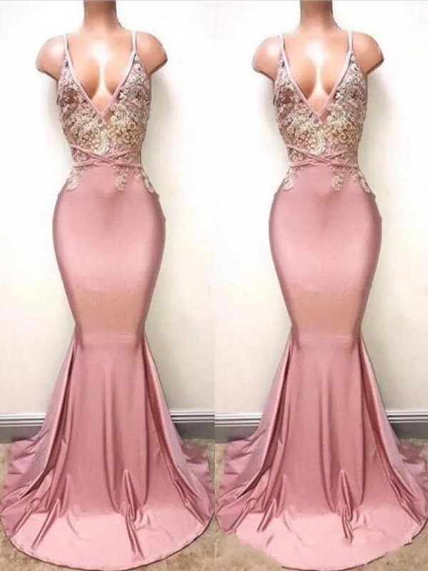 Mermaid Sleeveless V-neck Sweep/Brush Train Lace Satin Dresses