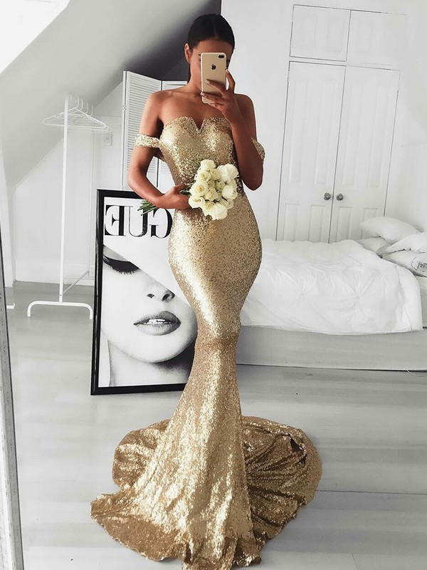 Mermaid Sleeveless Off-the-Shoulder Sweep/Brush Train Ruffles Sequins Dresses