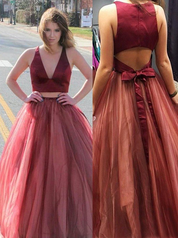 A-Line Sleeveless V-neck Sweep/Brush Train Ruffles Tulle Two piece Dresses