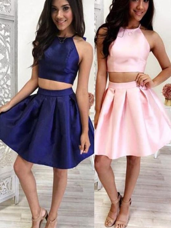 A-Line/Princess Satin Halter Sleeveless Ruffles Short/Mini Dresses