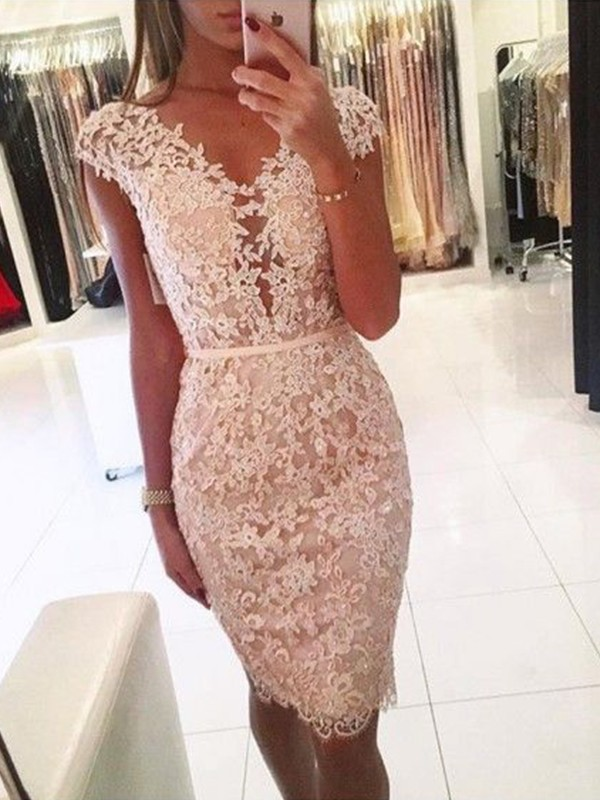 Sheath/Column Lace V-neck Sleeveless Knee-Length Dresses