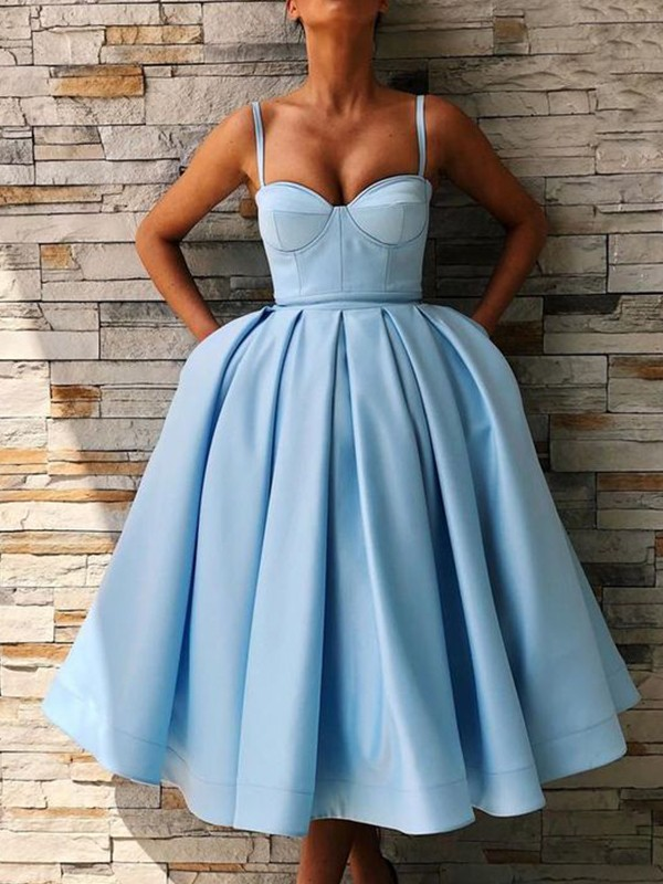 Ball Gown Satin Spaghetti Straps Sleeveless Ruffles Tea-Length Dresses