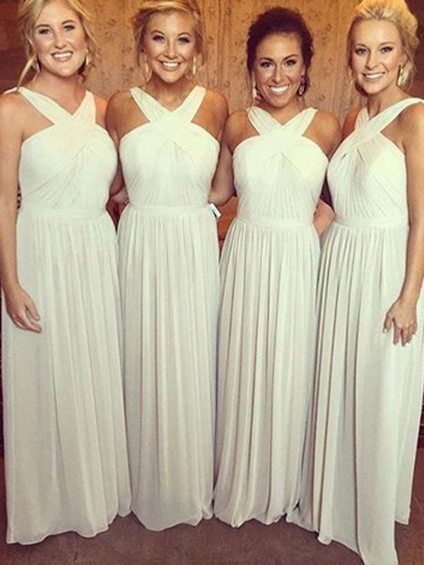 A-Line/Princess Halter Sleeveless Floor-Length Chiffon Bridesmaid Dresses