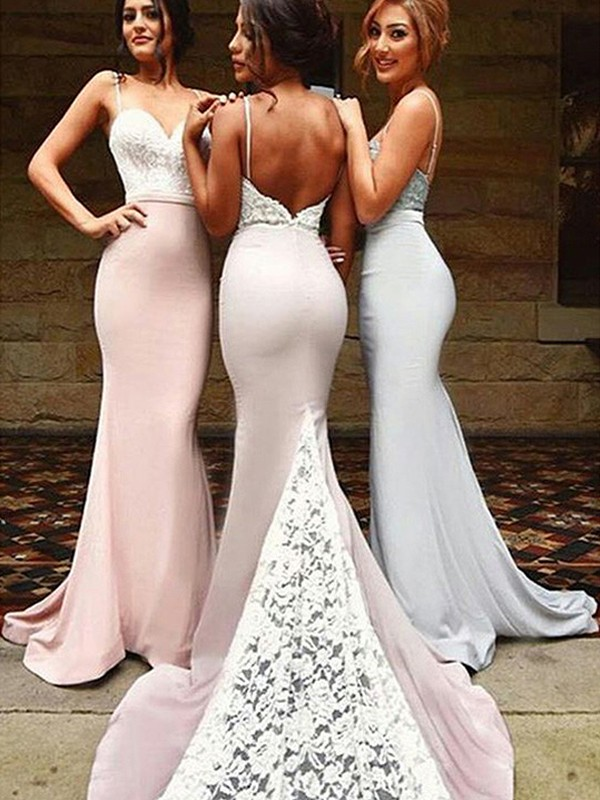 Trumpet/Mermaid Sweetheart Sleeveless Sweep/Brush Train Lace Spandex Bridesmaid Dresses