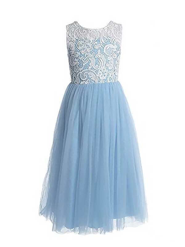 A-Line Sleeveless Jewel Lace Ankle-length Tulle Flower Girl Dress