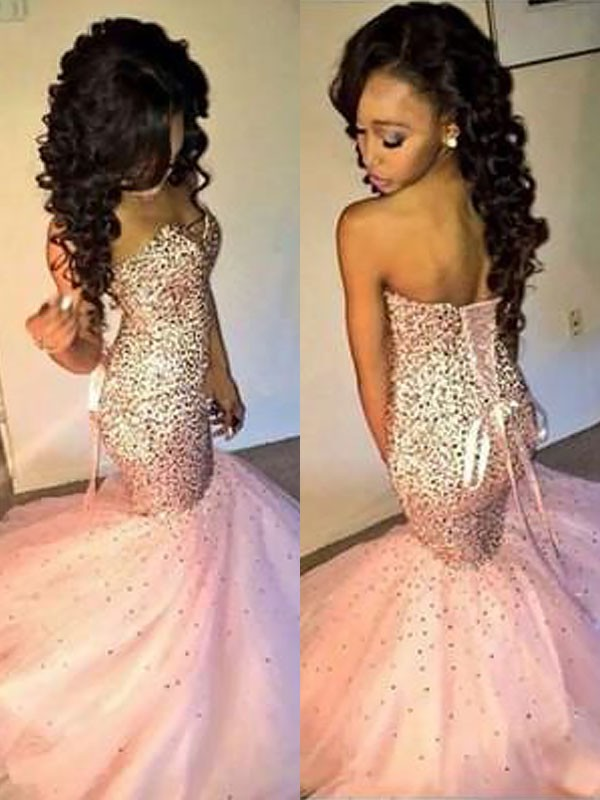 Mermaid Sleeveless Sweetheart Tulle Sequin Floor-Length Dresses