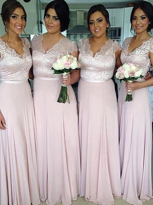 A-Line V-neck Short Sleeves Floor-Length Chiffon Bridesmaid Dresses