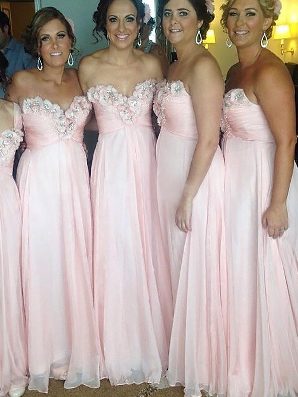 A-Line Sleeveless Sweetheart Chiffon Floor-Length Bridesmaid Dresses