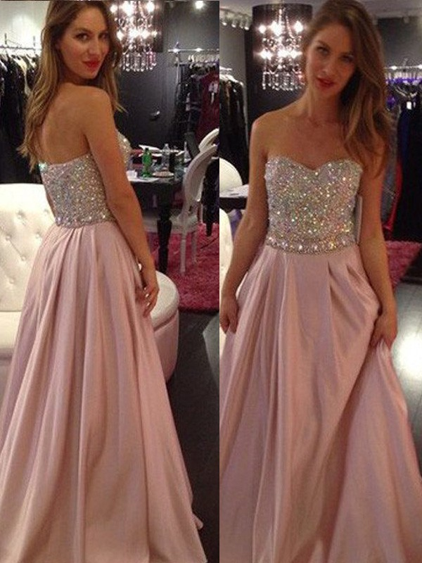 A-Line/Princess Sleeveless Sweetheart Floor-Length Chiffon Beading Dresses