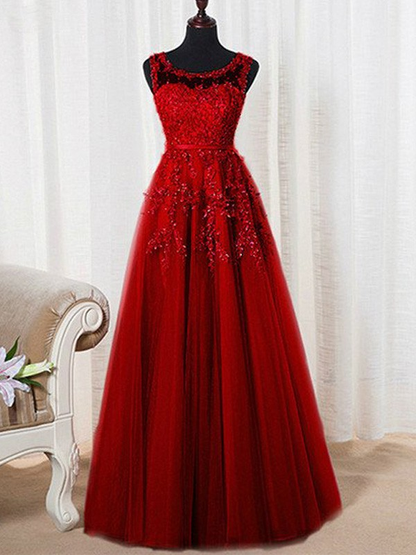 A-Line/Princess Sleeveless Scoop Floor-Length Tulle Beading Dresses