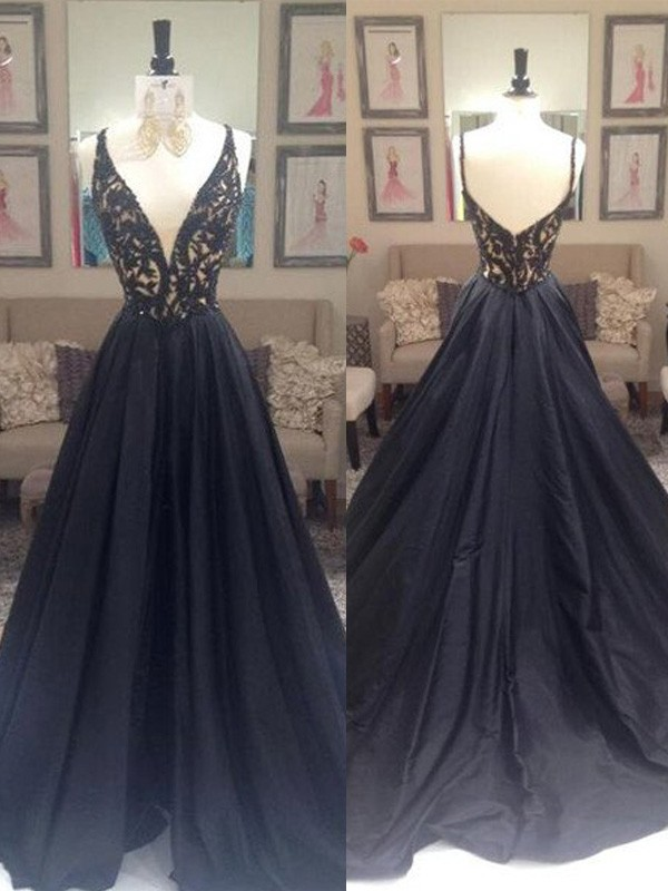 A-Line/Princess V-neck Sleeveless Sweep/Brush Train Taffeta Dresses