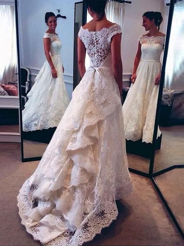 A-Line Scoop Lace Court Train Sleeveless Wedding Dresses