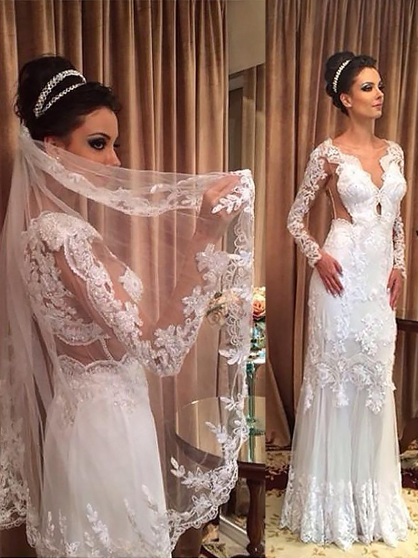 Sheath Tulle Long Sleeves V-neck Floor-Length Wedding Dresses