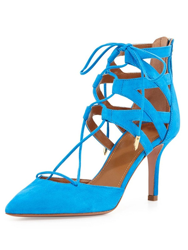 Women's Suede Stiletto Heel Closed Toe With Lace-up Sandals Shoes