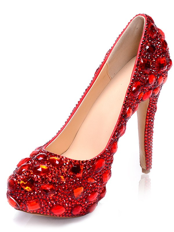 Women's Patent Leather Platform Closed Toe Stiletto Heel With Rhinestone Platforms Shoes