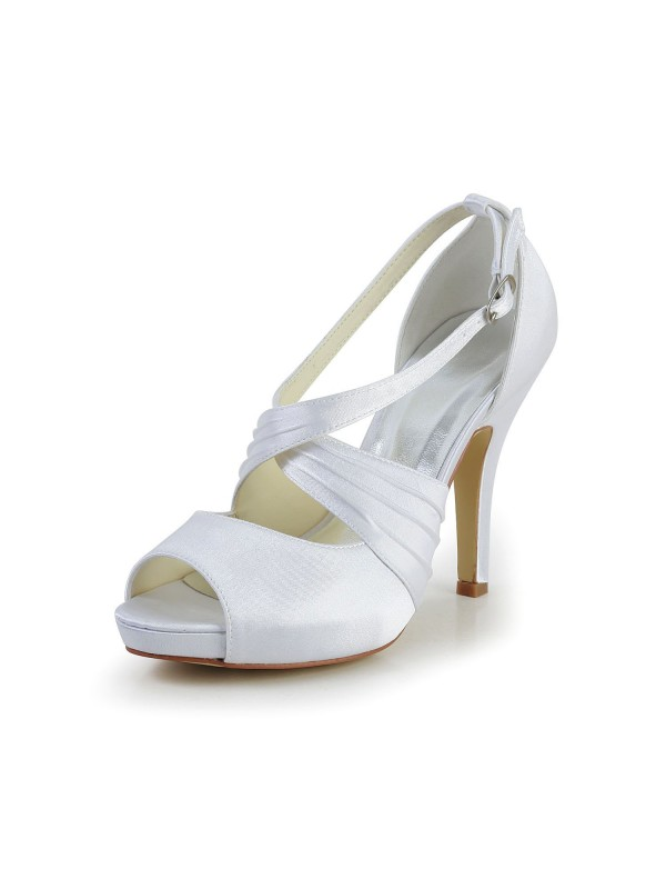 Women's Satin Stiletto Heel Peep Toe With Buckle White Wedding Shoes