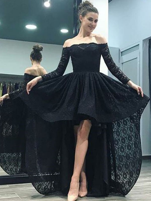 A-Line Off-the-Shoulder Long Sleeves Sweep/Brush Train Asymmetrical Lace Dress