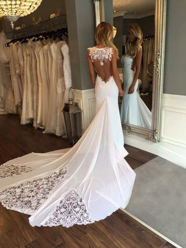 Mermaid Sleeveless Sweetheart Cathedral Train Lace Wedding Dress