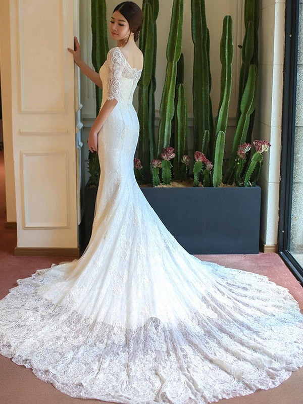 Mermaid 1/2 Sleeves Square Cathedral Train Lace Wedding Dress