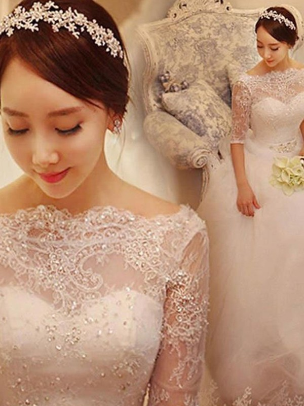 Ball Gown Tulle 1/2 Sleeves Off-the-Shoulder Chapel Train Wedding Dress