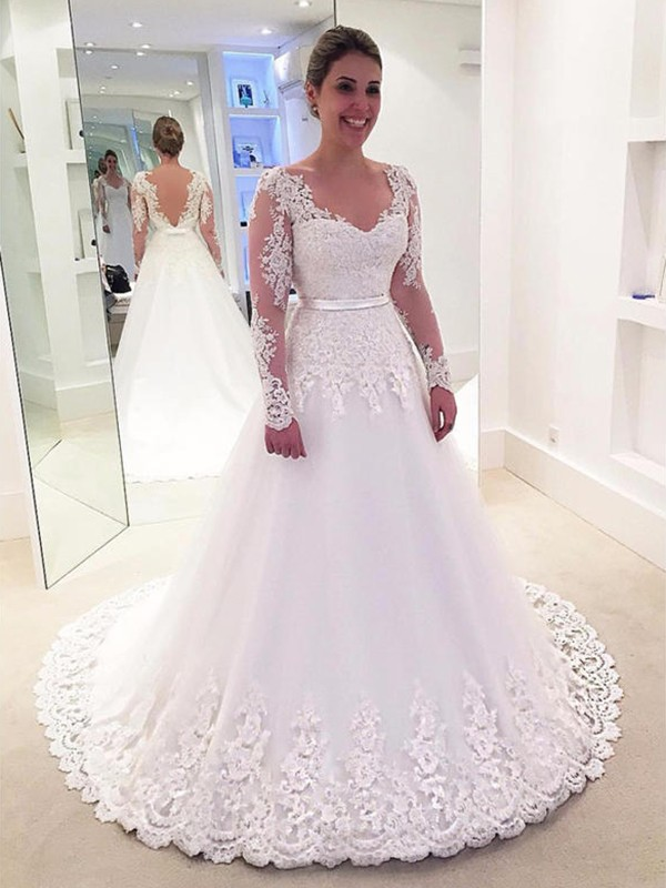 A-Line V-neck Lace Long Sleeves Tulle Sweep/Brush Train Wedding Dress