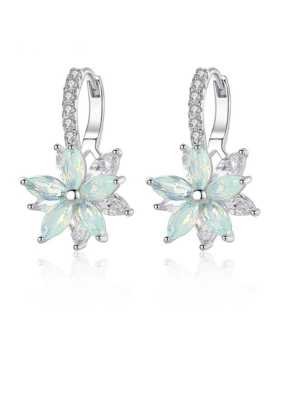 Fashion Womens Crystal With Flowers Earrings