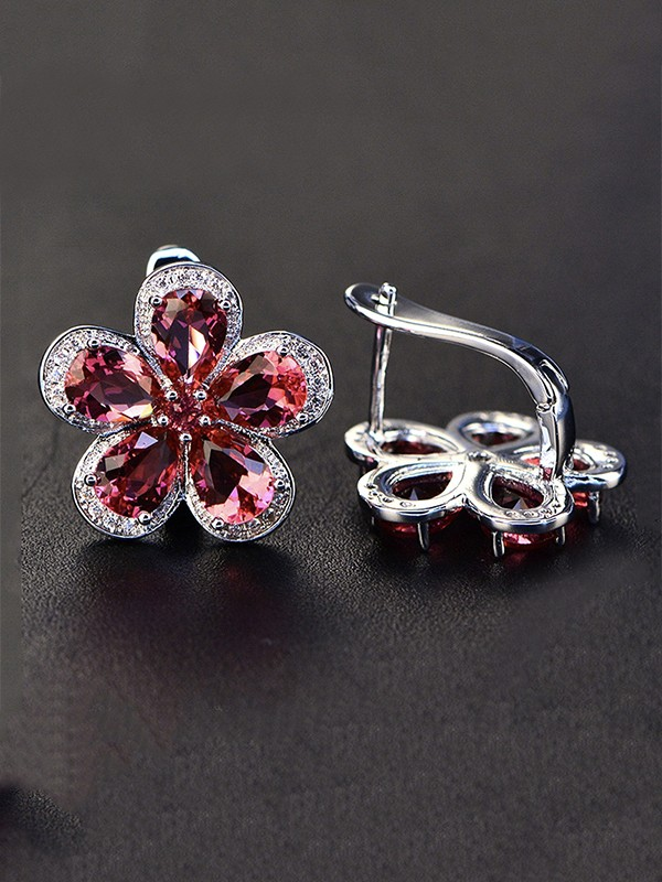 Ladies's Luxurious S925 Silver With Gemstone Earrings