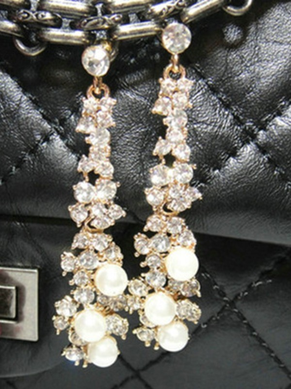 Ladies's Attractive Alloy With Rhinestone Earrings