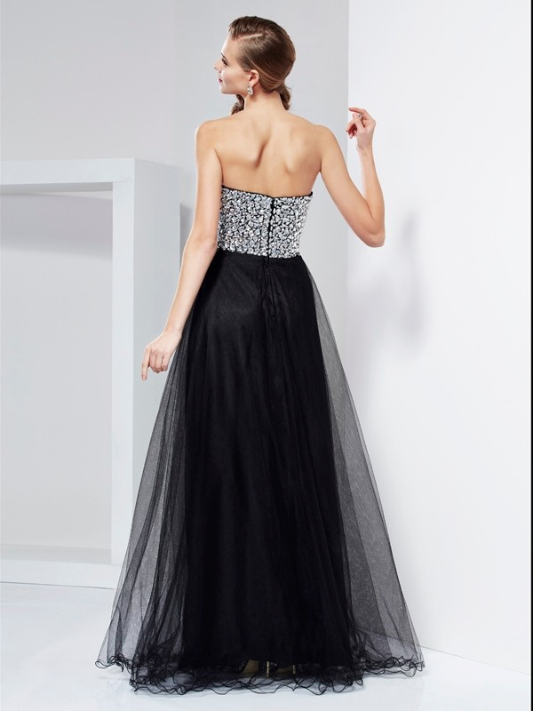 A-Line/Princess Sweetheart Sleeveless Beading Crystal Long Elastic Woven Satin Dresses