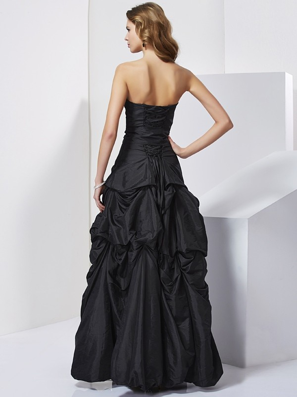 Sheath/Column Strapless Sleeveless Bowknot Long Taffeta Dresses